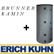 Brunner Kamin-Kessel 38/86 mit Drehtr,wassergefhrt, schwarz mit 500 L Erich Kuhn Schicht-Pufferspeicher
